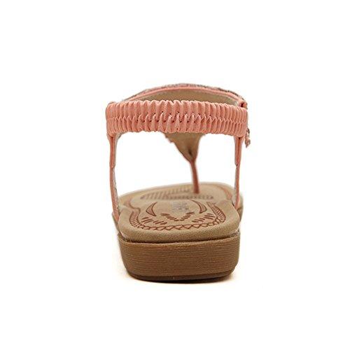De Playa De Sandalias Rosado Rhinestone De Mujeres Zapatos Tacón Las Tacón Verano De De Cuero Zapatos Bohemia Zapatillas Bajo Bajo De De 8w85EAq