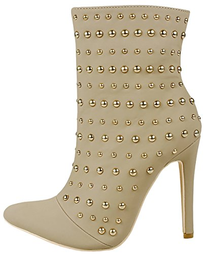 Stiletto Heel Pointed Ankle Fur Metal Shoes Lined Suede Faux Taupe JJF Bootie Women Studded Toe Zip Soft Decor q6Onxx4BwR