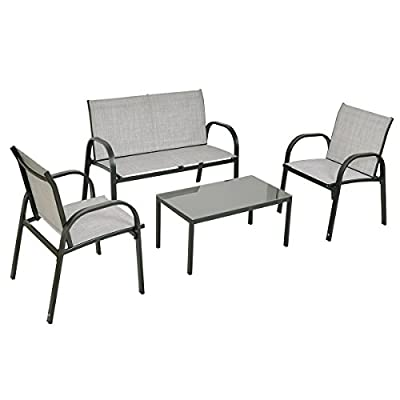 Tangkula 4 Piece Patio Furniture Outdoor Sofa Garden Lawn Sectional Conversation Set Outdoor Garden Poolside Glass Top Tea Coffee Table and Chairs with Smooth Armrest
