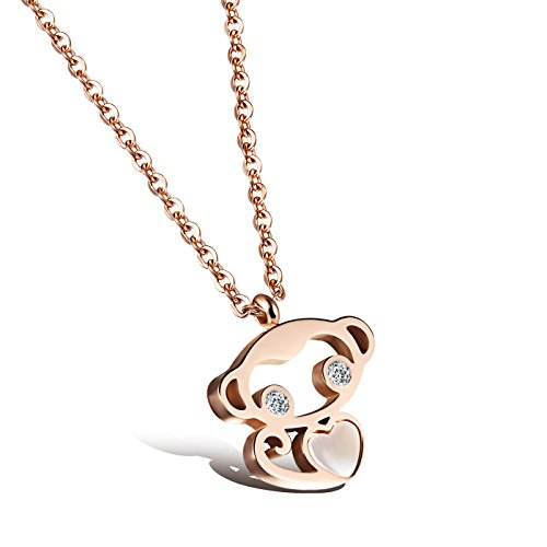 OPK Jewelry Rose Gold Plated Stainless Steel Lovely Monkey Pendant Friendship Necklace