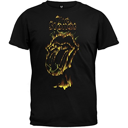 Stone Lips Rolling Flaming - Rolling Stones - Mens Flaming Tongue Soft T-shirt Large Black