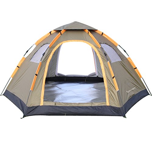 Wnnideo Instant Family Tent 6 Person Large Automatic Pop Up Tents Waterproof for Outdoor Sports Camping Hiking Travel Beach with Zippered Door and Carrying Bag in Gray
