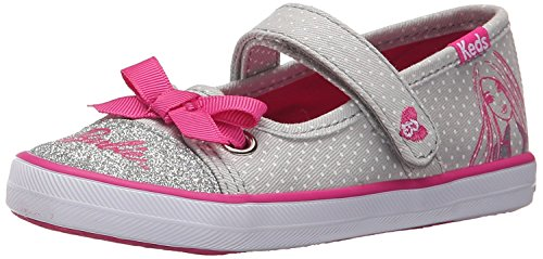 Keds Barbie Mary Jane (Toddler/Little Kid), Grey/Pink, 4 M US (Keds Canvas Mary Janes)
