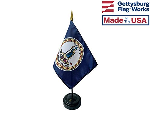 - 4x6 E-Gloss Virginia Stick Flag with Plastic Table Base - Qty 1
