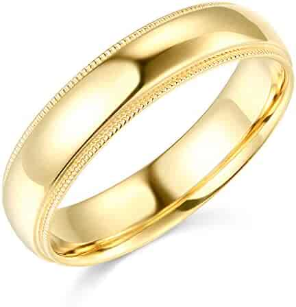 14k Yellow or White Gold 5mm Plain Milgrain Wedding Band