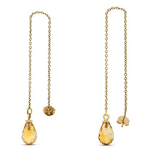 Gemstone Threader Earrings (10k Yellow Gold Citrine Briolette Gemstone Threader Earrings, Birthstone of November)