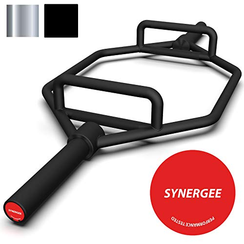 (Synergee 25kg Black Olympic Hex Barbell Trap Bar with Two Handles for Squats, Deadlifts, Shrugs and Power Pulls. 56