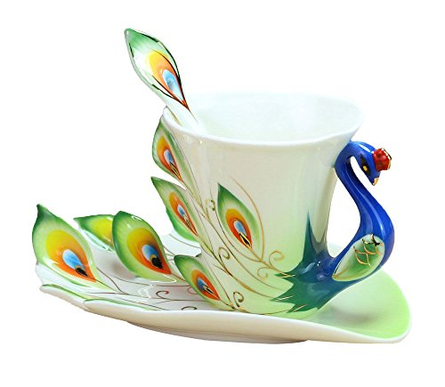 Peacock Porcelain Coffee Cup Set   Tea Cup Set For Daily Use And Wedding Present  Green