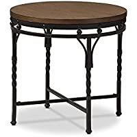 Baxton Studio Gabie Vintage Industrial Round End Table, Antique Bronze