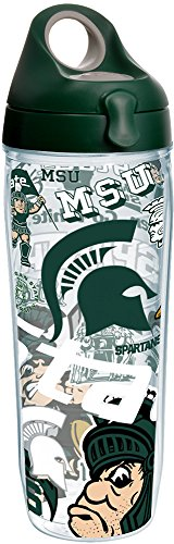 Michigan State Spartans All Over Water Bottle With Lid 24 oz Clear ()