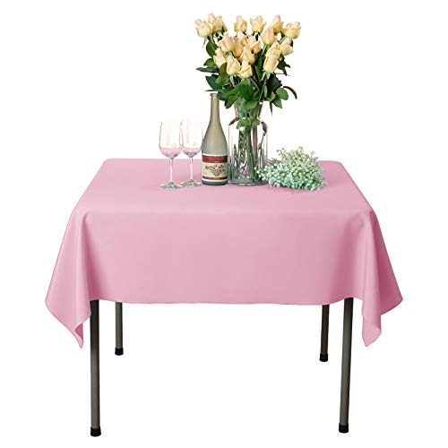 - VEEYOO Square Tablecloth 100% Polyester Table Cloth for Indoor and Outdoor Table - Solid Dinner Tablecloth for Wedding Party Restaurant Coffee Shop (Pink, 54x54 inch)