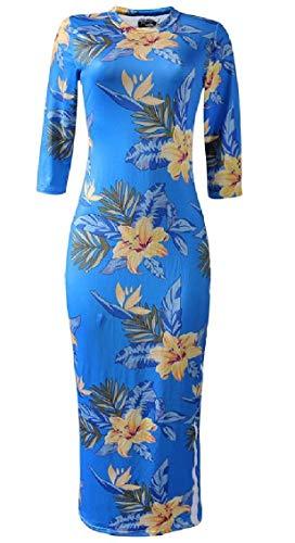 La Mode Jaycargogo Des Femmes Sexy Imprimé Floral Manches 3/4 Longue Robe Moulante 3