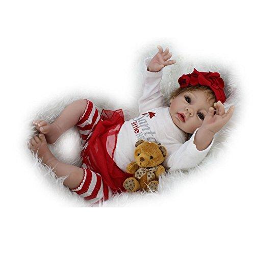 NPKDOLL Reborn Baby Doll Soft Silicone Vinyl 22inch 55cm Magnetic Mouth Lifelike Boy Girl Toy Red Santa White - India Reborn