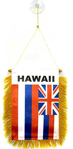 ALBATROS State of Hawaii Mini Flag 4 inch x 6 inch Window Banner with Suction Cup for Home and Parades, Official Party, All Weather Indoors Outdoors