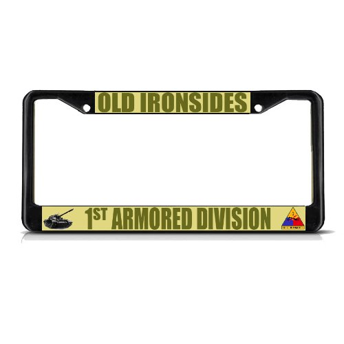 Sign Destination Metal License Plate Frame Solid Insert Old Ironsides 1St Armored Division Army Border Car Auto Tag Holder - Black 2 Holes, One ()