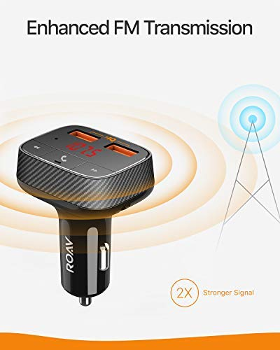 Roav SmartCharge F0, by Anker, Bluetooth FM Transmitter, Receiver, Car Charger with Bluetooth 4.2, 2 USB Ports, PowerIQ, and AUX Output (No Dedicated App)