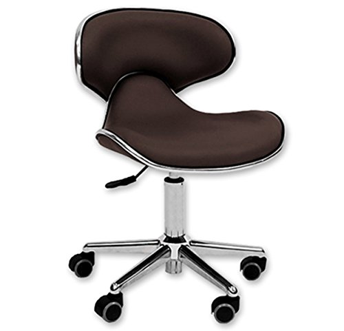 Comfort Stools Ergonomic Salon Tech Stool Brown with Chrome