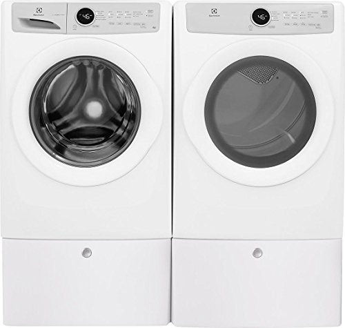 Electrolux White Front Load Laundry Pair with EFLW317TIW 27″ Washer, EFDG317TIW 27″ Gas Dryer and 2 EPWD157SIW Pedestals