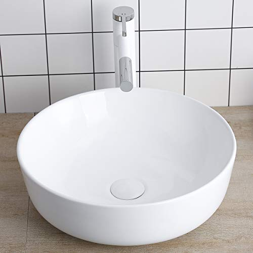 Round Vessel Sink Above Counter Sink 16 Inch Kitchen Sink Ceramic - Bathroom Vanity Bowl Art Basin Lalasani Fireclay Farmhouse Sink - Farmhouse Porcelain Sinks