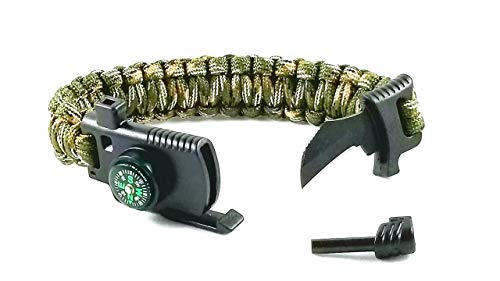 Paracod Bracelet with Survival Knife, Wrist Compass, Fire Starter Flint, Emergency Whistle| Survival Bracelet Kit| Tactical Bracelet for Men and Women (Military Army Camo)
