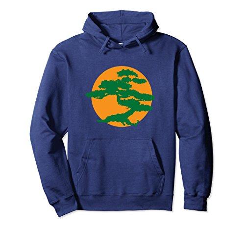 Karate Bonsai Tree (Unisex Bonsai Tree Hoodie with Orange Sun Japanese Karate Zen 2XL Navy)