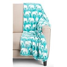 Berkshire Blanket Elephant Throw Blanket Velvety Plush Baltic Blue Teal 60 x 70