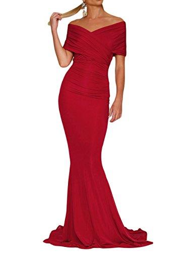 Damen Rot Meerjungfrau Ballkleid MALL Cocktail Brautjungfer Abendkleider Off Schulter MAX Lange 15FSaqn