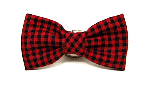 Very Vintage Lumberjack Red Black Preppy Plaid Vintage Hand-crafted Bow Tie for a Dog or Cat Collar - Bowtie - Handmade in the (Preppy Cat Collar)