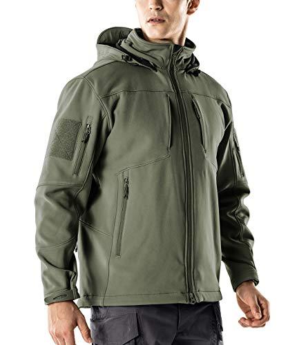 CQR Men's Tactical Softshell Hoodie Hiking Hunting EDC Lightweight Fleece Coat Jacket, Removable Hood(hok801) - Olive, 2X-Large