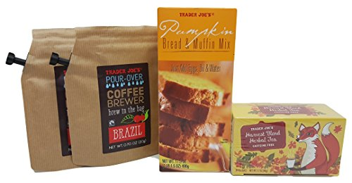 Trader Joe's Pumpkin Bread Muffin Mix, Coffee and Harvest Blend Tea Gift Set 4 Piece Bundle