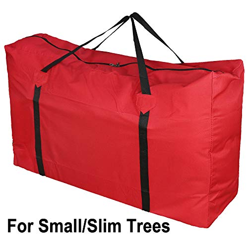 MelonBoat Waterproof Oxford Cloth Red Christmas Tree Storage Bag, for 5'-6' Slim Small Artificial Trees