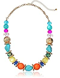 "Fashion Mulit-Colored Beaded Strand Necklace, 17"" + 3"""