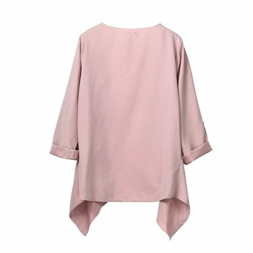 Long Coat Autumn Loose Size Blouse Jacket Plus Tunic Sleeve Solid Outerwear XOWRTE Autumn Pink Cardigan Women Spring UfpxEA