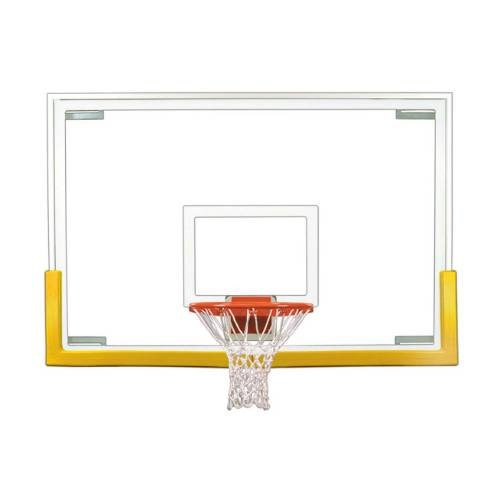 First Team Tradition Upgrade Package with 72in Glass Basketball Backboard, Breakaway Rim and Padding Color: Grey