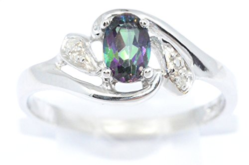 Natural Mystic Topaz & Diamond Oval Ring .925 Sterling Silver Rhodium - Diamond Mystic Topaz Ring