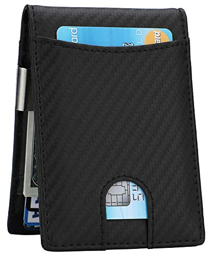 Money Clip Wallet - Mens Slim Front Pocket Leather Wallet RFID Blocking Minimalist Mini Wallet (Style 6 - Carbon Fiber/Black)