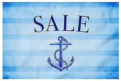 CGSignLab Sale Nautical Stripes Wind-Resistant Outdoor Mesh Vinyl Banner 12x8