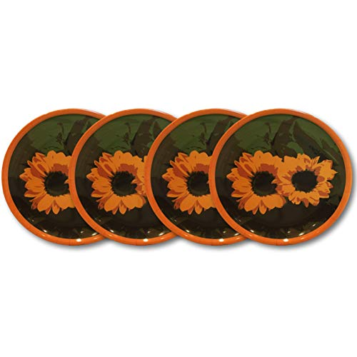 (Bamboo Plates, Salad Plates & Bowl Sets - Summer Designs - Gerber Daisy, Rose or Sunflower (4, Sunflower Dinner Plates))