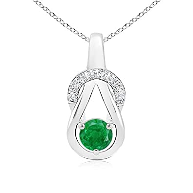 Angara Infinity Knot Natural Emerald Solitaire Necklace for Her in Rose Gold qMHwM