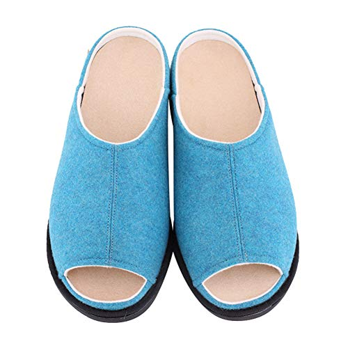 Women's Orthotic Slippers Lightweight Open-Toe House Shoes Removable Step-in Extra Wide Roomy Comfortable Slide Sandals Relief for Arch Support, Plantar Fasciitis, Swollen Feet, Indoor/Outdoor Blue