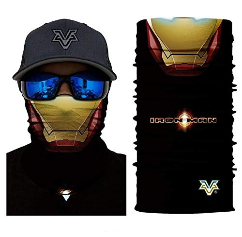 3D Ironman Face Tube Neck Face Scarf Lower Half Face Mask Motorcycle Bicycle Shield Sun Air Soft Outdoor Biker Riding Masks -