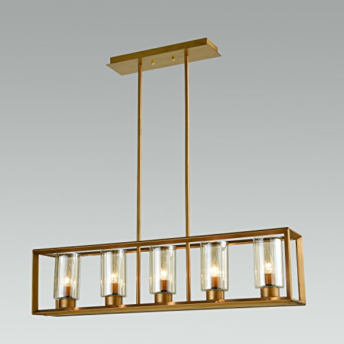 - DANXU Lighting Vintage Industrial Golden Brushed Metal and Amber Glow Glass 5-Lights e12 Island Light Chandelier