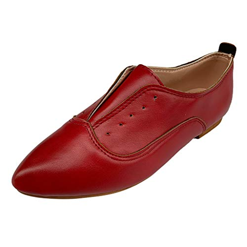 - Women's Ballet Shoe Flat Enamel Pointed Toe Oxford Retro Casual Comfort Classic Slip Ons Lace-Up Loafer Red