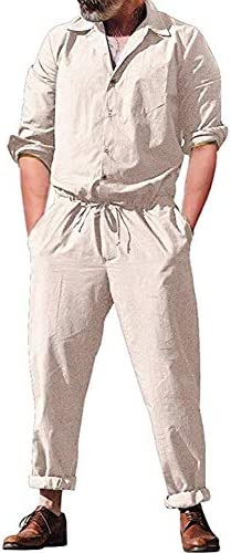 Mens Jumpsuits Long Sleeve Button Down Front Pockets Slim Fit Shirt Drawstring Shorts Casual Solid Color Jumpsuit Rompers