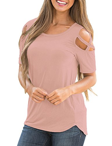 Lookbook Store Women's Pink Casual Crisscross Cold Shoulder Short Sleeve Basic T-Shirt Blouse Tops Size Small (US 4-6)