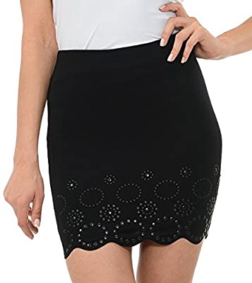 L I V D Made in USA – Women's Contemporary Comfortable and Flirty Laser Cut Scalloped Studded Skirt. No See Through
