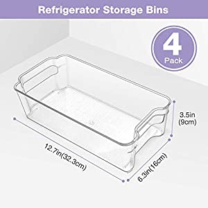 Puricon Refrigerator Storage Bins (4 Pack), Clear Stackable Plastic Freezer Organizer Food Storage Containers with Handles for Fridge Freezer Kitchen Cabinets -Clear (Color: Clear)