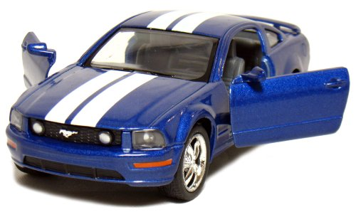 5-Die-cast-2006-Ford-Mustang-GT-1-38-Scale-Pull-Back-n-Go-Action-Blue-with-White-Racing-Stripes