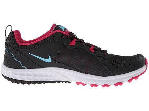 Nike Womens Wild Trail Antraciet / Fel Roze / Wit / Gepolariseerd Blauw 6 D - Breed