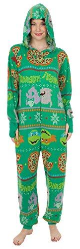 3341bae4a Teenage Mutant Ninja Turtles Pizza Adult Green One Piece Pajama ...